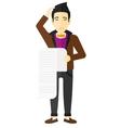 Man holding long bill vector image vector image