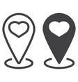 map pointer with heart line and glyph icon vector image vector image