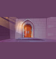 medieval dungeon or castle interior with arch door vector image vector image