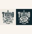 monochrome tattoo studio badge vector image vector image