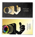 photographer golden business card concept vector image vector image