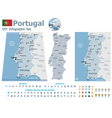 Portugal maps with markers vector image