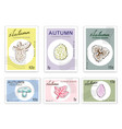 post stamps set of autumn plants with paper cut ar vector image vector image