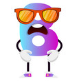 purple letter b with sunglasses on white vector image