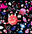 seamless bright funny halloween pattern vector image