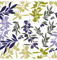 seamless pattern olive branches mediterranean vector image vector image