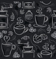 seamless patterns with coffee set cup heart vector image
