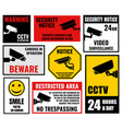 security camera signs cctv stickers vector image vector image