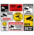 security camera signs cctv stickers vector image vector image