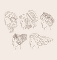 set hand drawn women with greek profiles vector image