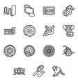 Simple line icons for e-bike parts vector image vector image