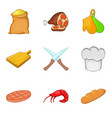 steak icons set cartoon style vector image vector image