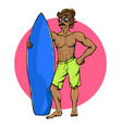 surfer with surfboard vector image vector image