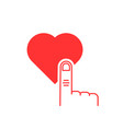 thin line finger presses on red heart button vector image vector image