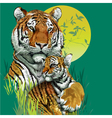 Tiger family in jungle vector image vector image