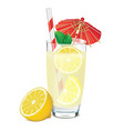 transparent glass of lemonade with lemons leafs vector image