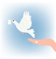 hand and dove vector image