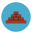heap of brick blocks icon web button on round blue vector image