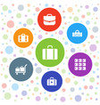 7 baggage icons vector image vector image