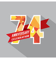74th Years Anniversary Celebration Design vector image vector image