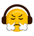 angry emoji with headphones icon vector image