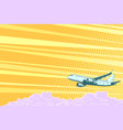 aviation aircraft flying above clouds vector image vector image