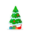 beautiful christmas tree with garland snow gifts vector image
