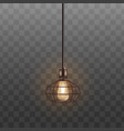 black loft lamp with incandescent lightbulb vector image