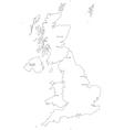 Black White United Kingdom Outline Map vector image