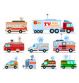 broadcast car tv vehicle broadcasting van vector image