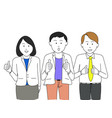 business team give thumb up vector image