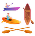 canoeing icons set cartoon style vector image vector image