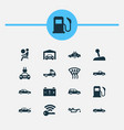 car icons set with fuel sports automobile garage vector image