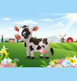 cartoon cow in rural landscape with blooming flowe vector image vector image