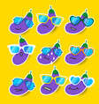 cartoon eggplant emojis with sunglasses vector image vector image