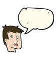 cartoon unhappy face with speech bubble vector image vector image