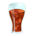 cola in glass with ice isolated icon vector image