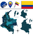 Colombia map with named divisions vector image vector image
