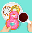 delicious donuts in glaze with cup hot coffee vector image