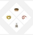 flat icon meal set of bratwurst sack tart and vector image