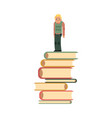 flat young caucasian man thinking on books vector image vector image