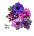flower bouquet floral bunch boho hand vector image