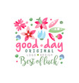 good day best of luck logo original design vector image vector image