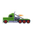 green racing truck fast heavy sport vehicle vector image vector image