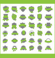 green stickers set 4 vector image