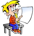 Hand-drawn of a young school boy sitting at a desk vector image vector image