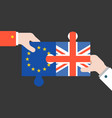 hand holding britain and euro jigsaw puzzle vector image vector image