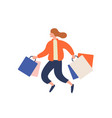 happy cartoon girl running with shopping bag vector image