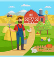 Happy farmer with agricultural landscape and
