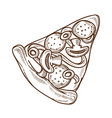 italian pizza with mushrooms and salami sausage vector image